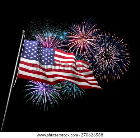 the american flag against 4th of july fireworks exploding in background independence day concept