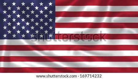 The american flag American flag flying in the wind. Flag of the Unites States of america - illustration. - stock photo