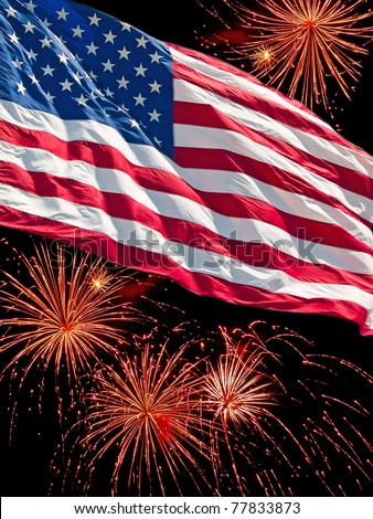 The American Flag and a Fireworks Display - stock photo