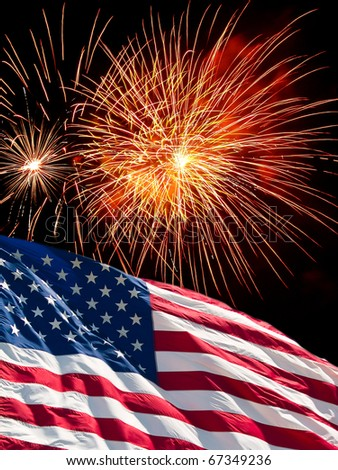 The American Flag and Fireworks from Independence Day - stock photo