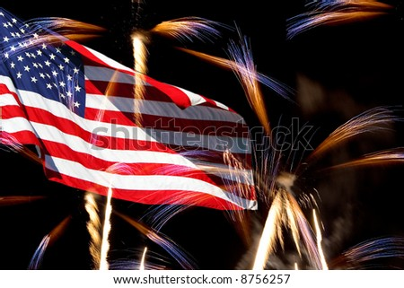 The American Flag comes to life with this powerful fireworks display.  Great for the 4th of July and Labor Day. - stock photo