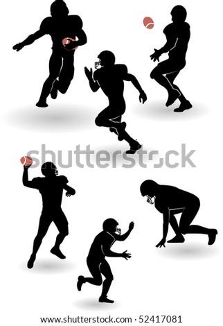 the american football silhouettes set (vector version in portfolio) - stock photo