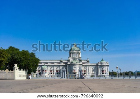 The Ananta Samakhom Throne Hall is a royal reception hall within Dusit Palace in Bangkok, Thailand. Photo with beautiful blue sky and copy space.