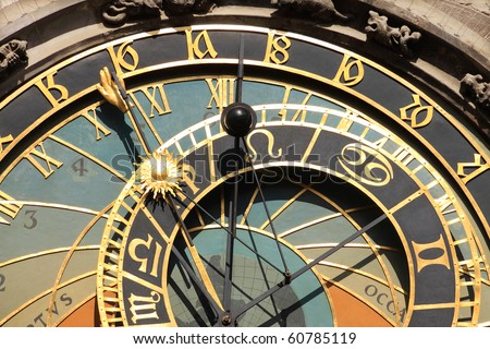 The ancient astronomical Clock in Prague - stock photo