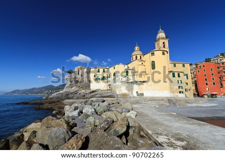 the ancient basilica in Camogli, famous small town in Liguria, Italy