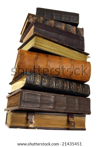 The ancient books in leather reliure on a light background