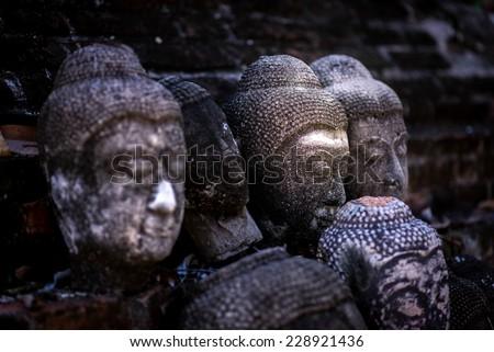 The ancient Buddha, at wat-yaichaimongkol ayutthaya, Thailand - stock photo