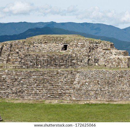 The ancient buildings of the ancient Zapotec city Monte Alban - Oaxaca, Mexico - stock photo