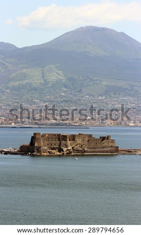 The ancient Castel dell Ovo in the Gulf of Naples, Italy - stock photo