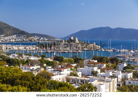 The ancient castle and amphiteater in Bodrum, Turkey - stock photo