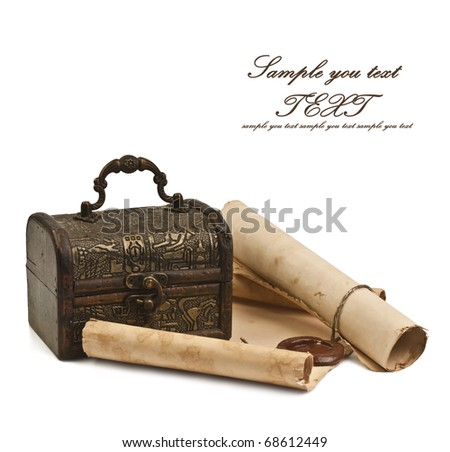The ancient chest with a paper