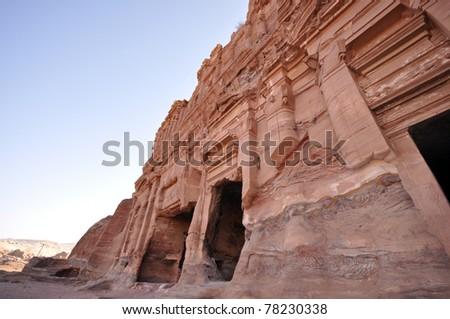 The ancient city of Petra in Jordan - stock photo