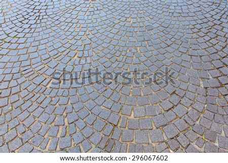 The ancient cobblestone streets in France - stock photo