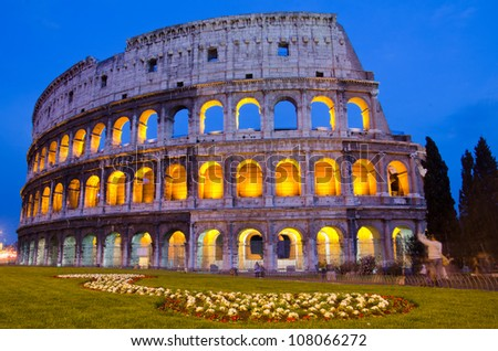 The ancient Colosseum in Rome, beautiful night shot