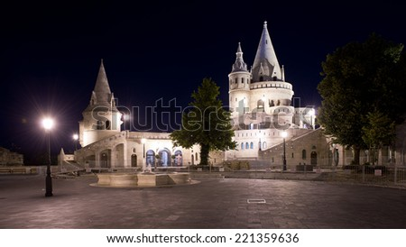 The ancient fisherman's bastion, in neogothic style, built on the top of a hill in Buda, now Unesco world heritage site. - stock photo