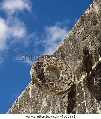 the ancient game field of chichen itza at mexico - stock photo