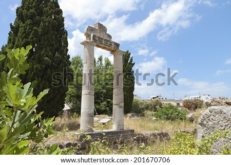 The ancient Greek and Roman city and Agora at Kos island in Greece - stock photo