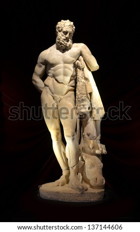 the ancient greek statue of Hercules by Lysippos.  One of the most famous sculptors and sculptures of the ancient world - stock photo