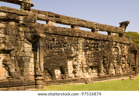 The Ancient Khmer Elephant Terrace at Angkor Thom, Siem Reap, Cambodia.