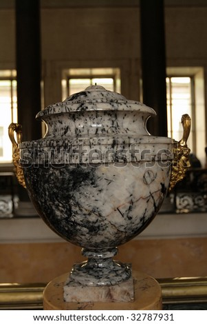 The ancient marble bowl in a museum