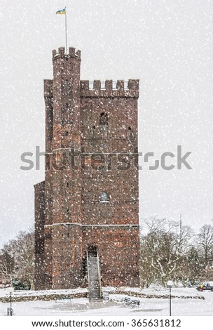 The ancient medieval fortification Karnan which is situated in the Swedish city of Helsingborg. The site is a location of many battles between Sweden and Denmark. - stock photo