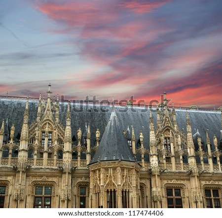 The ancient Palace of Justice in Rouen,  Haute-Normandy, France - stock photo