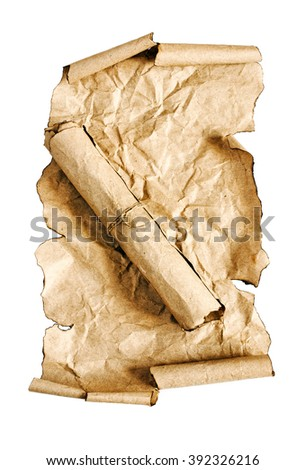 The ancient parchment and scroll isolated on a white background