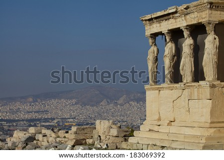 The ancient Porch of Caryatides in Acropolis - stock photo