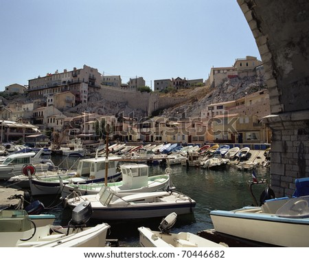 "The ancient port ""Vallon des Auffes"" in Marseille in France - stock photo"