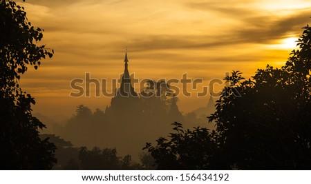 the ancient Rakhine capital,Sunrise, temple at dawn - stock photo