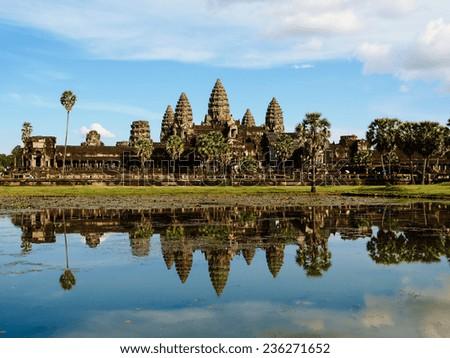 The ancient ruins of Angkor Wat, Cambodia - stock photo