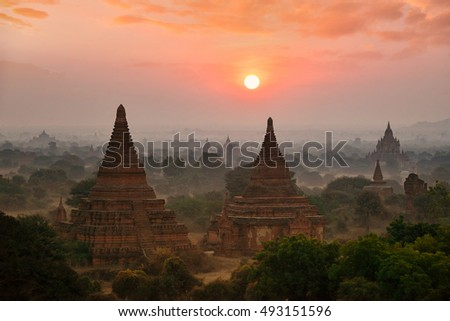 The Ancient temple in Bagan during sunrise , Myanmar
