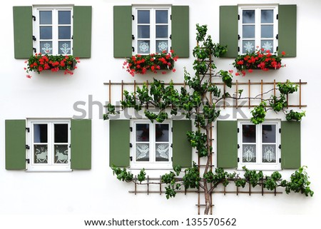 The ancient unique window Oberammergau, Germany - stock photo