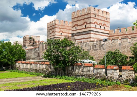 The ancient walls of Constantinople in Istanbul, Turkey - stock photo