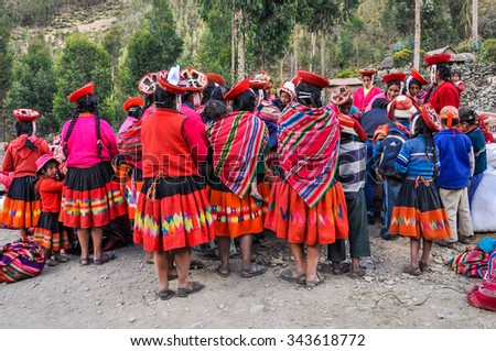 THE ANDES, PERU - MAY 30, 2012: Quechua reunion in a village in the mountains of The Andes over Ollantaytambo, Peru - stock photo
