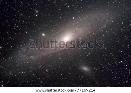 The Andromeda Galaxy is a spiral galaxy approximately 2.5 million light-years from Earth in the constellation Andromeda.