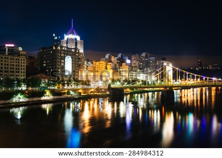 The Andy Warhol Bridge and skyline at night, in Pittsburgh, Pennsylvania. - stock photo