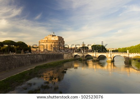 The Angel Castle at sunset, Rome, Italy - stock photo