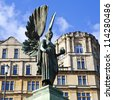 The Angel From Edward VII's Memorial in Parade Gardens in Bath, Somerset. - stock photo