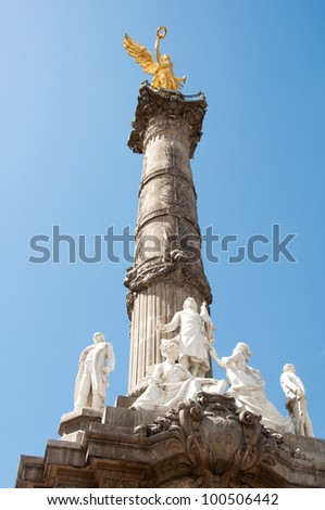The Angel of Independence (victory column) in  Mexico City. - stock photo