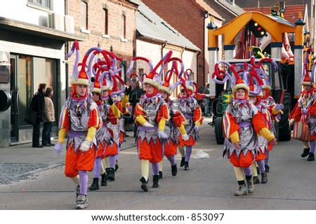 The annual carnival parade for youngsters and adults in belgium.  This is a very colorful parade with lots of fun.