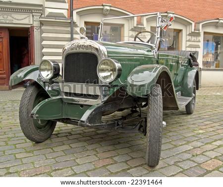 The antiquarian car in city street, Riga, Latvia. - stock photo