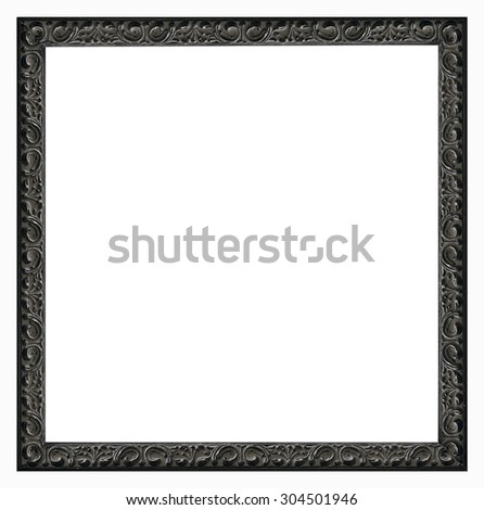 The antique frame on the white background.