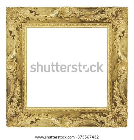 The antique gold frame isolated on white background / Frame square