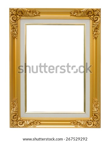 The antique gold vintage frame luxury isolated white background. - stock photo