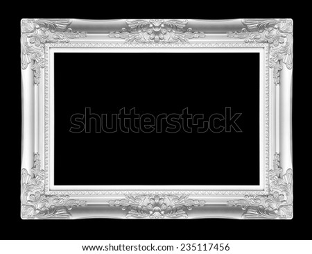The antique silver frame on the black background - stock photo