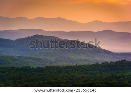 The Appalachian Mountains at sunset, seen from the Blue Ridge Parkway in North Carolina. - stock photo