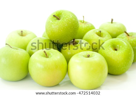 The apple over white background.