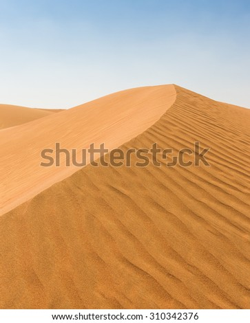 The Arabian desert on a hot sunny day - stock photo