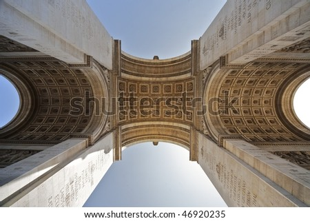 The Arc de Triomphe in paris, seen from below - stock photo